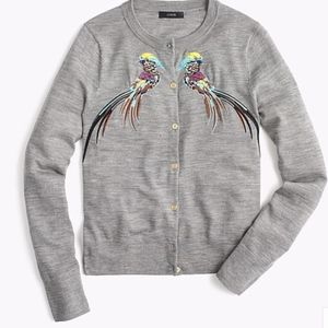 J. Crew Embroidered Birds Jackie Cardigan L